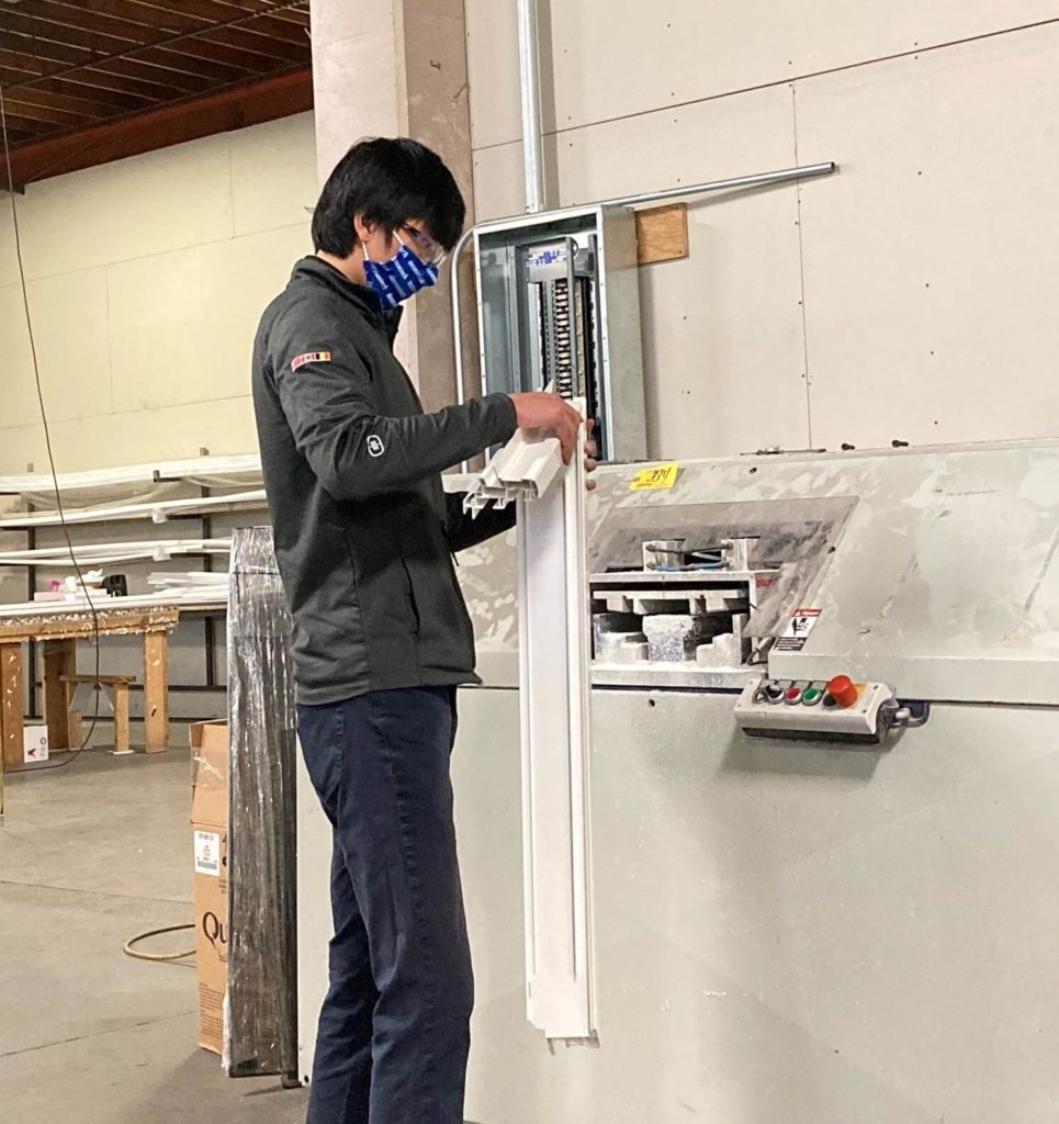 Technical service rep making window