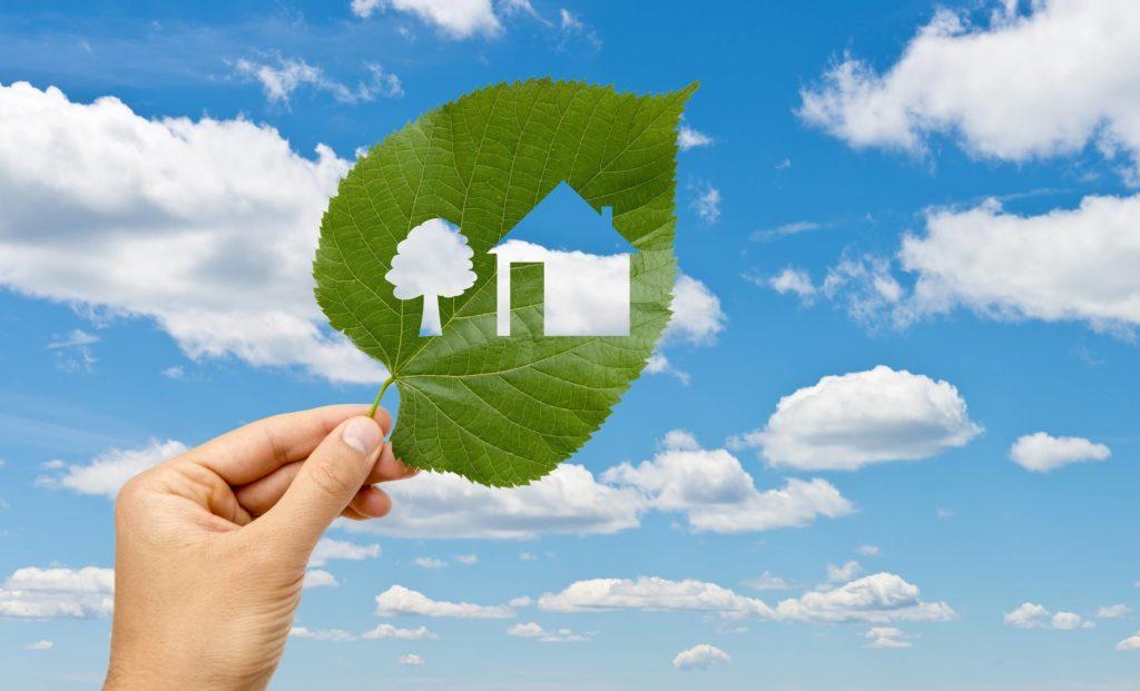 leaf with tree and house shape cutout