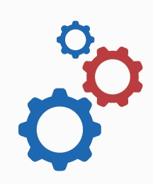 icon of 2 blue and 1 red cog